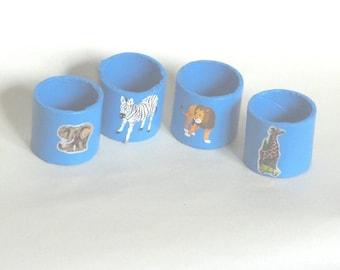 Blue napkin ring, African animals