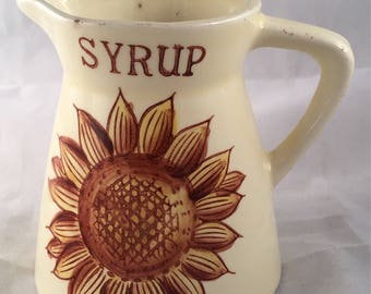 Vintage Sunflower Syrup Pitcher