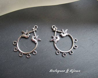 CONNECTORS 5 drop PENDANTS earrings with silver birds set of 2 items for creations pendants