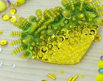 Yellow Heart Shaped Handmade Brooch Embroidered with Beads and Sequins
