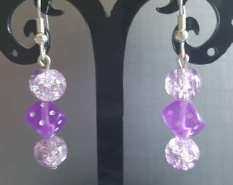 Purple dice earrings
