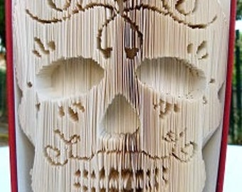 """Sugar skull 3D"" book sculpture"
