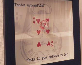 Alice in Wonderland framed impossible playing card