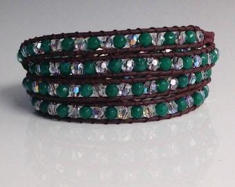 Bracelet type chan luu swarovski emerald green