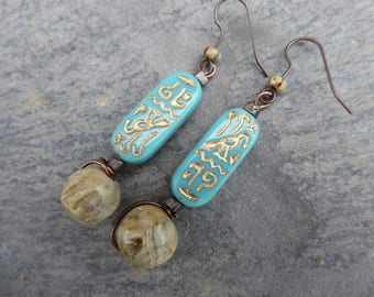 Rustic tribal earrings Egyptian - glass beads and stone