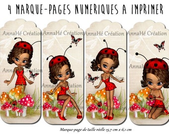 "4 bookmarks digital print ""Miss Ladybug"""