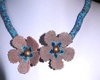Poppy Flowers beaded necklace or the spiral