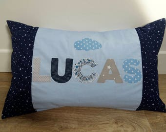 "Pillows with custom ""Lucas"""
