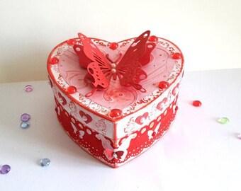 Heart, cardboard, butterfly, red box