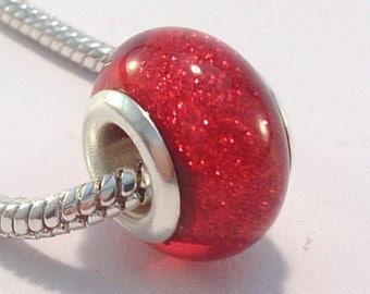 European bead charm's red acrylic glitter (63rd)