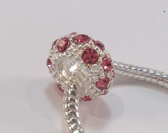 Rhinestone charm's white and pink (117 (A) European bead