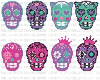 Princess Sugar Skull SVG (layered), EPS, PNG & Dxf | circuit | cameo silhouette studio | cutting machine | vinyl decal | t-shirt design