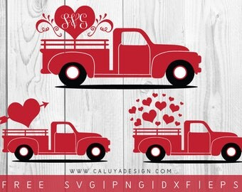 FREE SVG & PNG Link | Valentine Heart Truck Cut Files, svg, png, dxf, eps | Commercial Use | circuit, cameo silhouette | Valentine Cut File