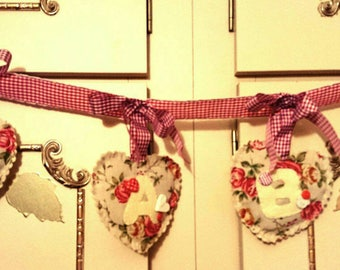 Baby Floral Hearts Bunting, Padded hearts bunting, vintage style nursery, floral bunting, nursery decor, baby's room, home decor, New baby
