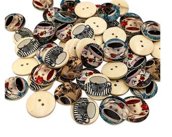 Set of 10 coffee wooden buttons