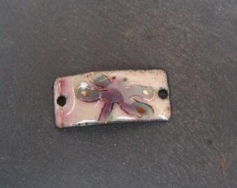 copper charm enamelled (hot) Dragonfly bracelet connector