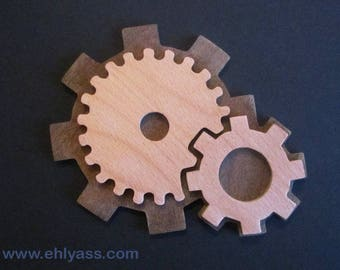 Wall sculpture Gears / cogs wooden beech and ipe (fretwork)
