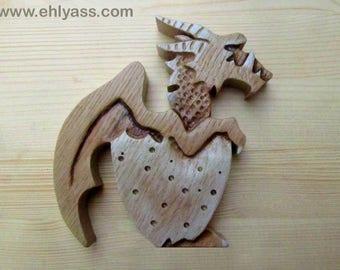 Solid wooden fretwork 2 Dragon egg sculpture