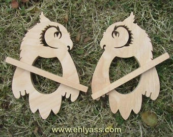 2 fretwork OWL curtain tiebacks