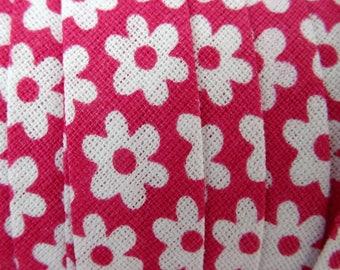 4 m cotton floral 10mm - fuschia flowers