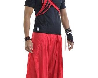 Harem pants / sarwel long pleated red unisex/mixed