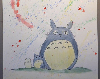 Painting drawing Totoro Fan Art watercolor and ink on paper