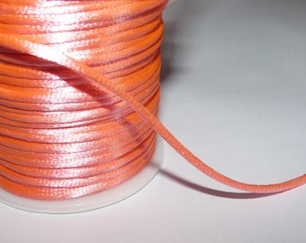 Ribbon sold by the yard coral/neon pink satin cord