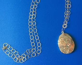 Faceted Jasper stone on long Gold Chain