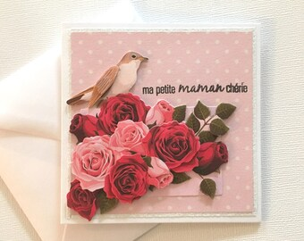 """Card mothers day """"Mother dear"""" - 3D birds and flowers picture"""