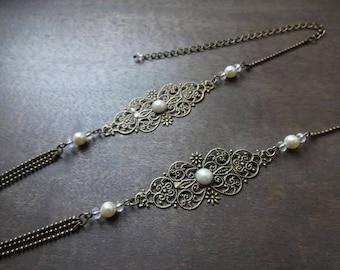 "Headband wedding bronze ""Swann"" with swarovski pearls"