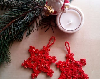 Christmas decorations Set red and gold snow crystals-Stars-Christmas tree decorations-stop packages-Gifts
