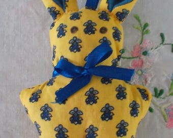 Yellow Provence fabric rabbit in Lavender