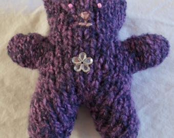 Mini Teddy bear Heather purple rhinestone flower