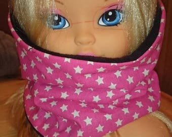 SNOOD collar reversible fleece and pink star