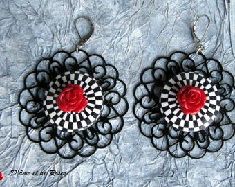 red rose Vasarely Baroque earrings