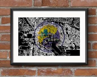 Tucson Map Art Print –Flag // Tucson Poster | Tucson Art | Tucson Print // Free Shipping