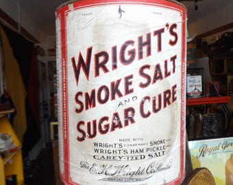 Vintage Wright's Smoke Salt and Sugar Cure Cardboard and Tin Can