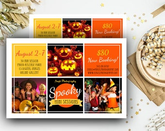 Halloween Mini Session Template Photography Marketing board - Photoshop template Instant Download