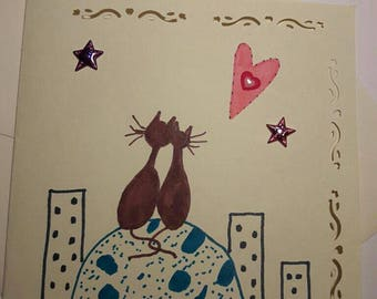 folded cards with envelopes theme naive cats