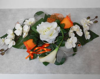 Table centerpiece - composition of flowers artificial ivory orange and silver