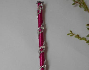 Pen for guestbook - fuchsia and silver rhinestones