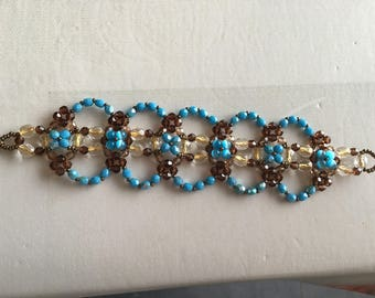 Pretty Brown and turquoise chain bracelet