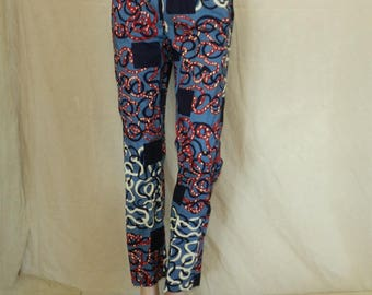 Elastic waist pants blue red and beige