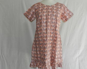 """Dress short """"Bayivi"""" 50 with short sleeves and button back, Brown t 38-40"""