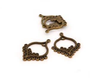 4 connectors for earrings antique bronze color