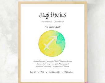 Sagittarius   Zodiac Gift   Watercolor Print   Astrology Sign   Best Friend Gift    DIY Wall Art   Sagittarius Gift   Horoscope