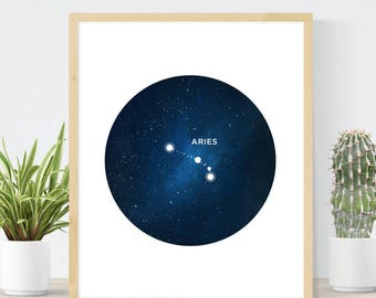 Aries Constellation | Astrology Art Print | Celestial Star Map | Best Friend Gift | Aries Birthday Gift | Aries Star Sign  | DIY Wall Decor