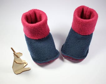 Cute little booties in Raspberry and Navy fleece.