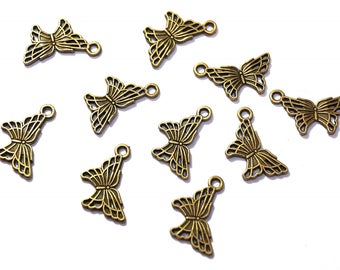 Set of 10 Butterfly charms charms