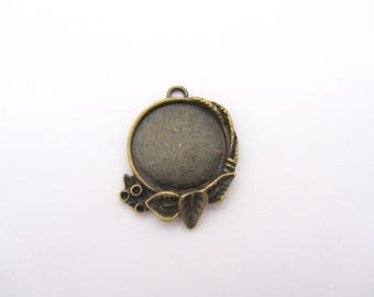One support cabochon pendant 14mm, tan, support cabochon 14mm,support glass cabochon
